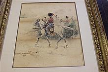 EDOUARD JEAN BAPTISTE DETAILLE (FRENCH, 1848-1912) WATERCOLOR CAVALRY, SIGNED LOWER LEFT DATED 1878, KNOWN PROVENANCE, OVERALL SIZE...