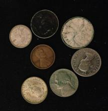 MIXED LOT INCLUDING BUFFALO NICKEL, LINCOLN WHEAT CENT, AND FOREIGN COINS