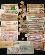 LOT FOREIGN CURRENCY AND COINS
