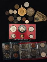 MIXED LOT INCLUDING 1979 PROOF SET, 1979 MINT SET (NO ENVELOPE), BUFFALO AND LIBERTY V NICKELS, 1853 U.S. LARGE CENT, AND FOREIGN CO...