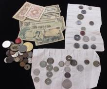 LOT VARIOUS FOREIGN COINS, CURRENCY, AND TOKENS INCLUDING TRANSIT