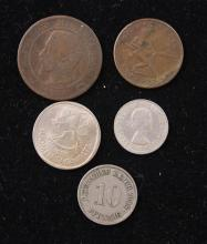 5 FOREIGN COINS INCLUDING 1856 FRANCE 10 CENTIMES