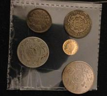 MIXED LOT INCLUDING 1856 U.S. CALIFORNIA GOLD INDIAN HEAD 1/4 TOKEN, 1853 SEATED LIBERTY DIME, AND 3 FOREIGN COINS