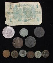 MIXED LOT INCLUDING INDIAN HEAD CENTS, U.S. LARGE CENT, FOREIGN COINS, AND GERMAN CURRENCY NOTE