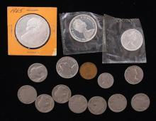MIXED LOT INCLUDING BUFFALO NICKELS AND CANADIAN COINS (SOME SILVER)