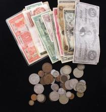 LOT FOREIGN COINS AND CURRENCY INCLUDING FRANCE AND MEXICO