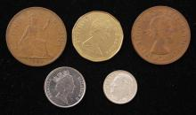 ROOSEVELT SILVER DIME, 2 CANADIAN COINS, AND 2 UNITED KINGDOM COINS