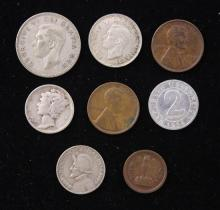 MERCURY SILVER DIME AND FOREIGN COINS