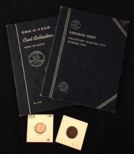 2 WHITMAN LINCOLN CENT ALBUMS (DATES DO NOT MATCH) AND LOOSE 1958 LINCOLN CENT AND CANADIAN CENT