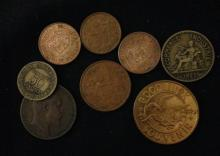 LOT FOREIGN COINS AND TOKENS