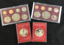 (2) 1972 COOK ISLAND PROOF SETS, NO BOXES AND (2) 1973 REPUBLIC OF LIBERIA $5 PROOFS