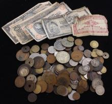 MIXED LOT FOREIGN COINS AND CURRENCY INCLUDING CANADA, MEXICO, AND GREAT BRITAIN