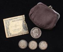 (3) 40% KENNEDY HALF DOLLARS, 1935 FRANCE 5 FRANCS, AND COIN PURSE