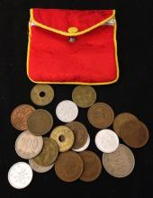 LOT FOREIGN COINS AND COIN PURSE