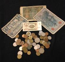LOT FOREIGN COINS AND CURRENCY, MOSTLY GERMAN