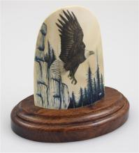 SCRIMSHAW IVORY PLAQUE WITH EAGLE ON WOODEN BASE, SIGNED KSI, OVERALL SIZE 5