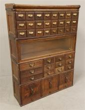 4 SECTION BARRISTER BOOKCASE AND FILE DRAWERS, NO BASE AND MARRIGE TOP. 41