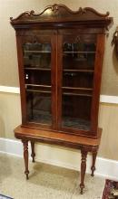 19TH CENTURY MAHOGANY TABLE WITH 2-DOOR BOOKCASE TOP, 39