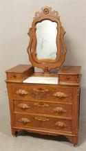 WALNUT VICTORIAN 3-DRAWER DRESSER WITH WISHBONE STYLE MIRROR, HANDKERCHIEF DRAWERS, MARBLE INSERT, AND FRUIT CARVED PULLS, 38