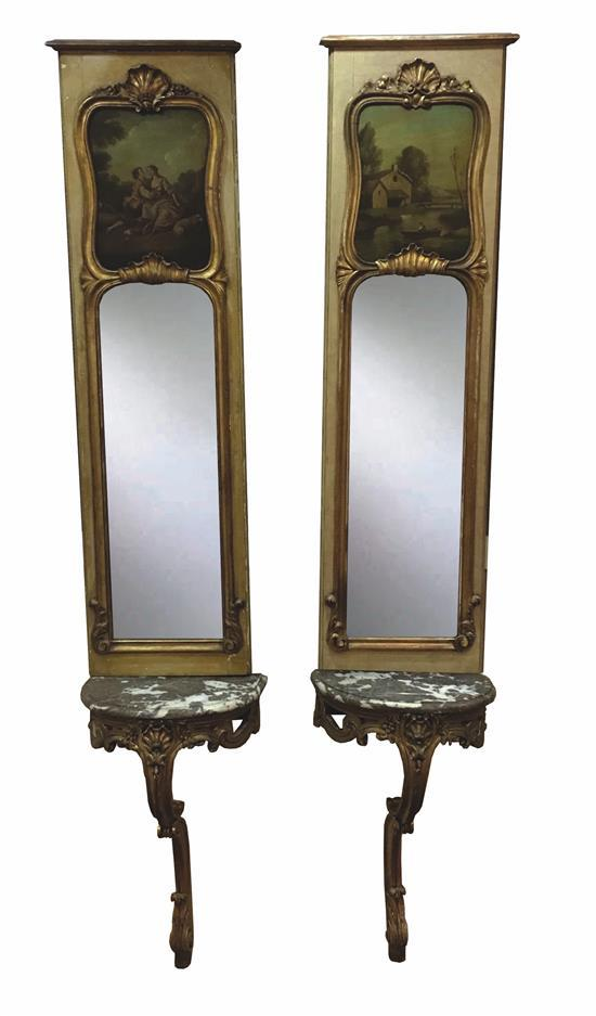 GOLD TONE FRENCH HALF ROUND WALL TABLE AND MIRROR SET WITH M