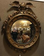 FEDERAL STYLE FRAMED ROUND MIRROR WITH EAGLE CREST, 25