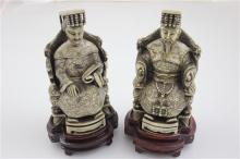 2 CARVED IVORY FIGURES SEATED JAPANESE MAN AND WOMAN WITH WOOD STANDS, 6