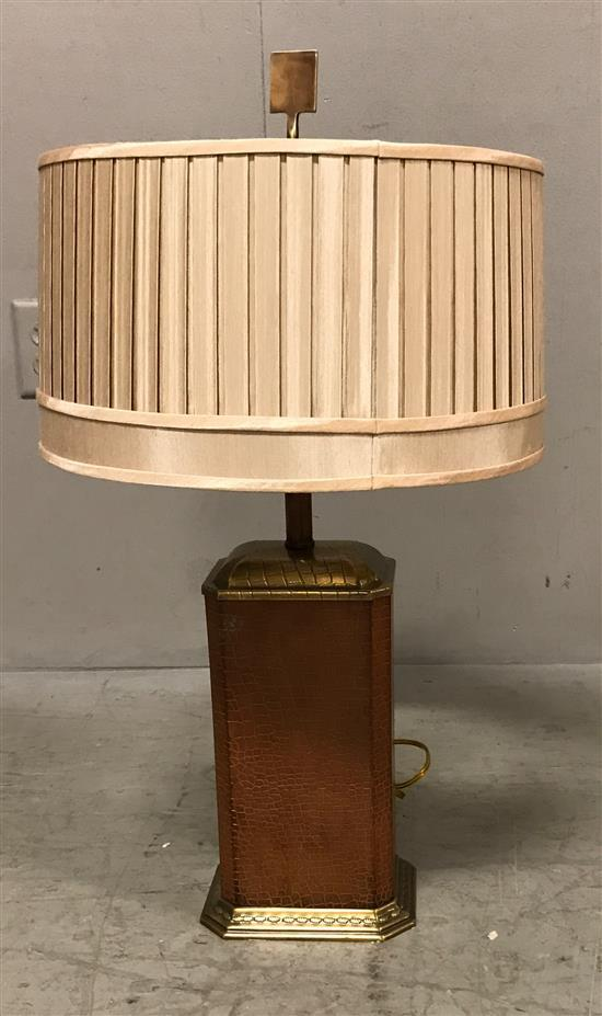 brass and leather table lamp with pleated silk shade 27 h overall. Black Bedroom Furniture Sets. Home Design Ideas