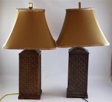 PAIR CONTEMPORARY SQUARE TABLE LAMPS WITH METAL BASES, 31