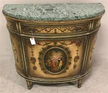 FRENCH STYLE DEMILUNE CABINET WITH MARBLE TOP AND DECORATED FRONT, 37