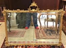 FRENCH STYLE GILT BEVELED MIRROR, 45