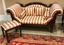CUSTOM MAHOGANY VICTORIAN STYLE LOVESEAT WITH CARVED BACK AND ROLLED ARMS, 71