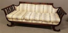 EARLY 20TH CENTURY MAHOGANY DUNCAN PHYFE STYLE SOFA WITH UNUSUAL LYRE ENDS, 81