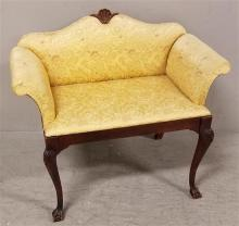 DIMINUTIVE HALL SEAT WITH CLAW FEET AND YELLOW TAPESTRY UPHOLSTERY, 30