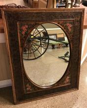 OVAL MIRROR IN RECTANGULAR FRAME WITH EMBOSSED METAL AND HAND PAINTED FLOWERS, 31