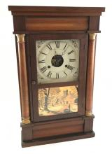 SETH THOMAS MANTEL CLOCK WITH HALF TURNED PILASTERS AND VILLAGE SCENE ON TABLET, 29