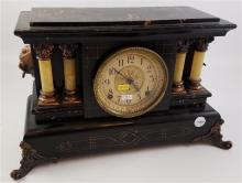 SETH THOMAS MANTEL CLOCK WITH MARBLIZED TOP AND COLUMNS, 18.5
