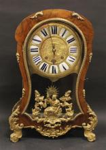 LATE 19TH CENTURY DE. ST. BLUMOND, PARIS MAHOGANY AND ORMALU MANTEL CLOCK WITH ENAMELED NUMBER FACE, 24 3/4
