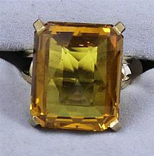 14K YELLOW GOLD CITRINE FASHION RING, SIZE 6 1/4 ~