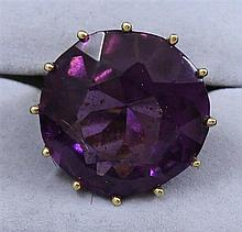 18K YELLOW GOLD AMETHYST TYPE FASHION RING, SIZE 7 ~ 18.9