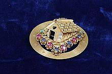 14K YELLOW GOLD PIN/ PENDANT WITH HOUSE AND JEWELED ACCENTS,