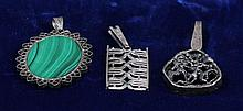 THREE STERLING AND 835 SILVER PENDANTS INCLUDING MALACHITE, SIGNED STIGBERT, 2' - 2 1/8