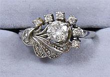 14K WHITE GOLD DIAMOND FASHION RING WITH APPROX .71 CENTER STONE, SIZE 7 1/2 REPLACEMENT VALUE $5,635.00