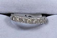WHITE GOLD BAND WITH 7 DIAMONDS, SIZE 7 3/4 ~