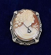 14K WHITE GOLD FRAMED CAMEO PIN / PENDANT WITH DIAMOND ACCENT, 1 3/4