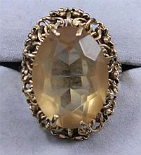 14K YELLOW GOLD CITRINE FASHION RING, SIZE 8 1/2