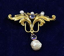 VINTAGE YELLOW GOLD PIN WITH PEARL, 1 1/2
