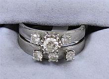 2 PC 14K WHITE GOLD DIAMOND WEDDING SET WITH APPROX .34 CT CENTER STONE, SIZE 8, REPLACEMENT VALUE $1,345.00