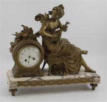 FIGURAL BRONZE AND MARBLE CLOCK MADE BY CHARMEUSE D' OISEAUX, 16