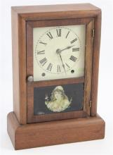 SETH THOMAS EIGHT-DAY SPRING CLOCK WITH REVERSE PAINTED GLASS, 14.5