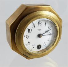 BRASS YORK EIGHT DAY CLOCK WITH BACK MOUNT, 4
